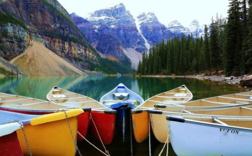 Canoes in the Wild, Moraine Lake, Banff, Alberta ~ © Lynne Simons Photography
